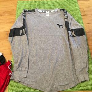 Pink lightweight sweatshirt gray w/ black size med